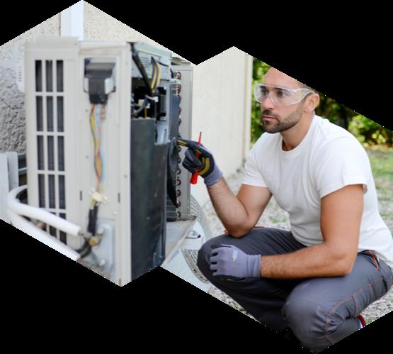 technician repairing the air conditioner