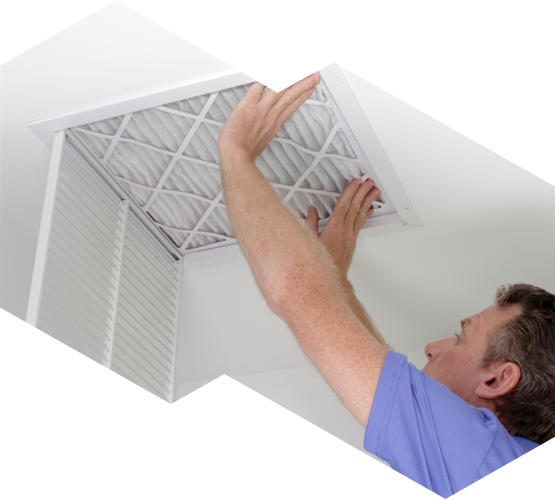 man installing central air