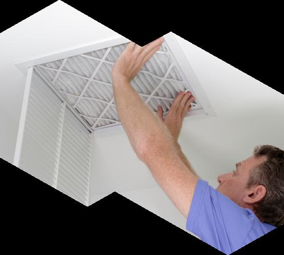 man installing central air