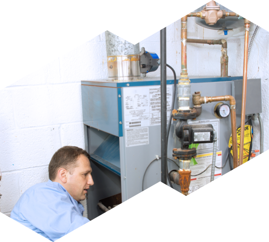 HVAC technician installing a furnace
